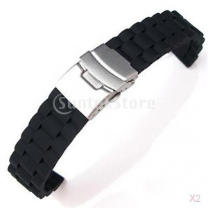 ノーブランド品 お買い得/セール 2点 時計バンド  交換ベルト  腕時計ストラップ  防水  シリコーン 長さ調整でき 18mm ブラック stk-shop