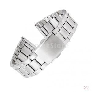 ノーブランド品 お買い得/セール 2点 時計バンド 交換ベルトステンレス製 腕時計ストラップ 22mm シルバー|stk-shop
