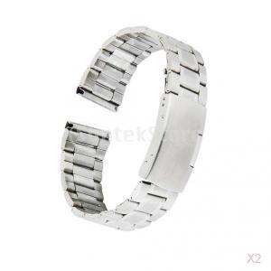 ノーブランド品 2本 時計バンド 交換ベルト ステンレス製 腕時計ストラップ 20メリメートル シルバー|stk-shop