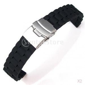 【ノーブランド品】時計バンド 交換ベルト  シリコン  腕時計ストラップ 防水 20mm  ブラック stk-shop