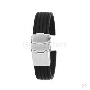 ノーブランド品 お買い得/セール 2点 時計バンド 交換ベルト 腕時計ストラップ シリコン 防水 16mm ブラック stk-shop