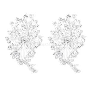 ノーブランド品 セール お買い得 2個 キラキラ クリスタル/ラインストーン ブライダル/結婚式 ブーケ 花のブローチピン|stk-shop