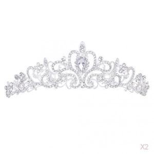 ノーブランド品 セール お買い得 2個 王冠 ティアラ ヘッドバンド ラインストーン 髪飾り 結婚式 舞台 パーティー|stk-shop