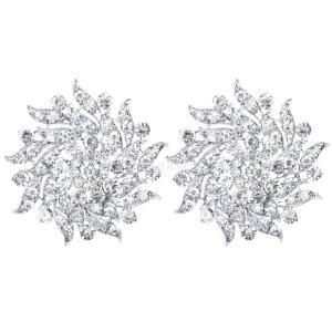 ノーブランド品 セール お買い得 2個 クリスタル/ラインストーンの花 花嫁/結婚式 ブーケ 銀のブローチピン|stk-shop