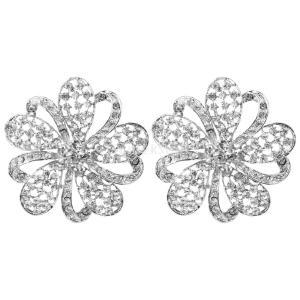 ノーブランド品 セール お買い得 2個 輝く クリスタル ディアマンテ  結婚式/ウエディング/ブライダル 花のブローチピン|stk-shop