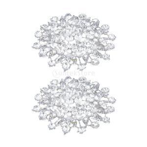 ノーブランド品 セール お買い得 2個 ブローチ ラインストーン 花 キラキラ 結婚式 パーティー 宴会 シルバー|stk-shop