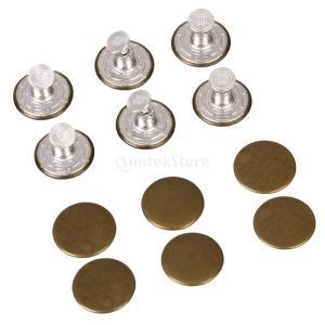 ノーブランド品 手芸用 20mm スムース ジーンズ タックボタン ジーンズボタン 12個セット 2色選べる - 茶色|stk-shop
