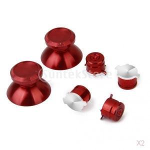 【ノーブランド品】PS4用コントローラパッドセット サムスティック ボタン メタル 7色 赤|stk-shop