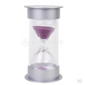 ノーブランド品 2枚 砂時計 タイマー 透明  料理 運動タイミング 5/10/15/30分計 6パタン選べ - 10分計 紫