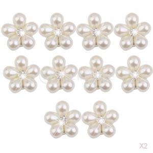 ノーブランド品 20個入り クリスタル ラインストーン パール DIY 飾りボタン 花形 ビーズ 装飾品|stk-shop