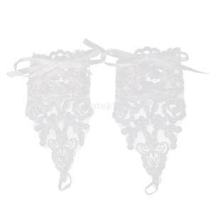ノーブランド品 耐久性 実用 2組 結婚式 ウェディング用 レース 手袋 スパンコール ラインストーン付 フィンガーレス (ホワイト)|stk-shop