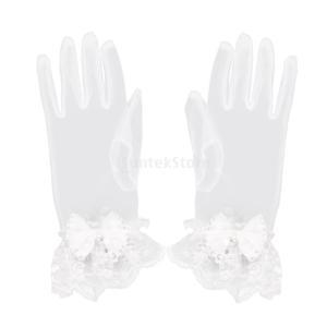 ノーブランド品 耐久性 実用 2組 結婚式 ウェディング用 レース 手袋 ショート丈 リボン ラインストーン付|stk-shop