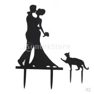 ノーブランド品 2個 結婚式 ウェディング用 アクリル製 ウェディングケーキ トッパー 新郎新婦&猫型|stk-shop