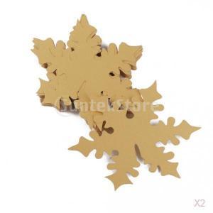 ノーブランド品 セール お買い得 100枚 クリスマス パーティー用 ワイングラス ネームカード レーザーカット 雪の結晶型 (ゴールド) 50枚|stk-shop