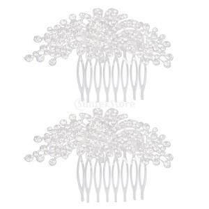 ノーブランド品 耐久性 実用 2点 ウェディング 結婚式用 ラインストーン付 コーム フラワー柄|stk-shop