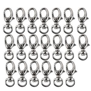 ノーブランド品 20個入り スイベル トリガー スナップ フック クラスプ キーリング 34x13mm シルバー|stk-shop