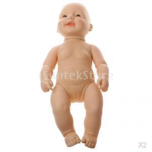 ノーブランド品 2個 赤ちゃん人形 シリコン製 柔らか リアル おもちゃ 女の子と男の子選べ ギフト - 女の子 stk-shop