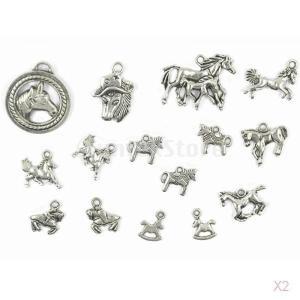 ノーブランド品 セール お買い得 30個 ハンドメイド アクセサリー用 合金製 ペンダントチャーム ビーズ 馬形 (シルバー)|stk-shop