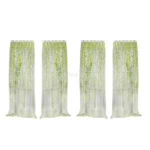 ノーブランド品  2pcs入り お買い得 グリーン 薄手 シアー カーテン インテリア 装飾 飾り 柳の小枝柄 1m x 2m|stk-shop