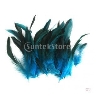 ノーブランド品 100枚 DIY 手芸用 クラフト用 オンドリの羽 雄鶏 羽 装飾用羽根 軽量 12 018cm 4色選べる - ブルー|stk-shop