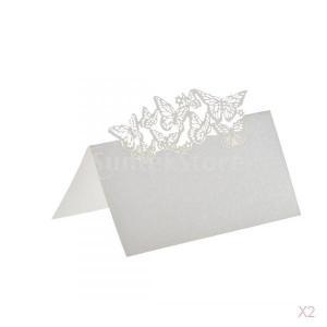 ノーブランド品 セール お買い得 100枚 結婚式 ウェディング用 レーザーカット 席札 ネームプレート 蝶型 (ホワイト)|stk-shop