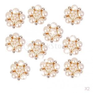 ノーブランド品 20個入り 人工パール付 ラインストーン 真珠 花のボタン 飾り ビーズ 25mm|stk-shop