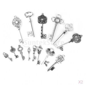ノーブランド品 28個入り 合金製 ペンダント チャーム レトロ 鍵型 シルバー stk-shop