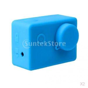 sjcamのsj4000のsj5000青のための柔らかいシリコーンの防塵保護ケーススキン|stk-shop