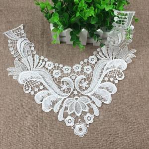 白 ヴィンテージ レース 刺繍 ネックライン 襟 偽襟 襟元 パッチ アップリケ 2個|stk-shop