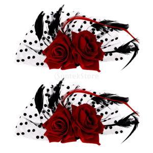 SONONIA  2個入り ブライダル 魅惑的 赤いバラ花 ドット ヘアクリップ 結婚式 ヘアアクセサリー|stk-shop