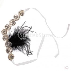 SONONIA 2個入り 結婚式 ブライダル 水晶 羽 ヘッドバンド フラッパー ヘッドピース 髪飾り|stk-shop