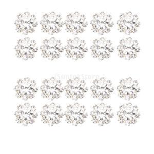 ノーブランド品 20個入り 水晶 ラインストーン ビーズ ボタン 装飾 DIY 手芸用 ブローチ作り クラフト アクセサリー 3サイズ選べる - 1cm|stk-shop