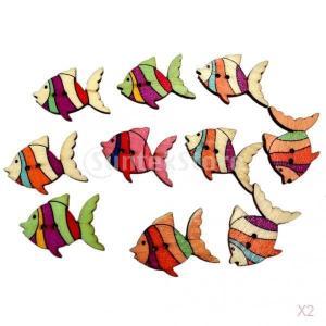SONONIA 約100個 クラフト DIY スクラップブッキング カラフル 魚の形 木製ボタン 装飾用 工芸品|stk-shop