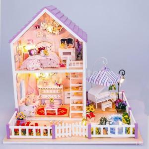 SONONIA  2セット 木製 ドールハウス  DIY 人形の家 ミニチュア  子供のおもちゃ 贈り物 stk-shop