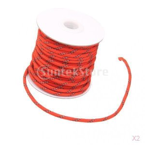 ノーブランド品 2個 お買い得 20M 反射 ガイ ライン テント キャノピー 屋外 キャンプ ロープ 赤