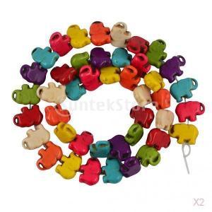 42pcsはターコイズキャンディー混合色の象ルースビーズDIYの素質をハウライト|stk-shop