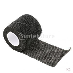 ノーブランド品 2個 お買い得 不織布 粘着 柔軟 弾性 テープ 包帯 ラップ 2色選べる - ブラック|stk-shop