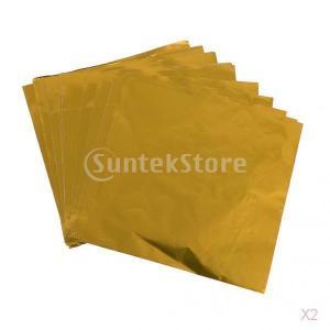 お買い得/セール 200本 チョコレート/キャンディの包装紙 アルミ箔 ラッパー 金色 8×8cm|stk-shop