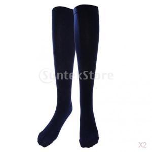 抗疲労ニーハイストッキング脚ふくらはぎ圧縮サポートソックスネイビーリットル|stk-shop