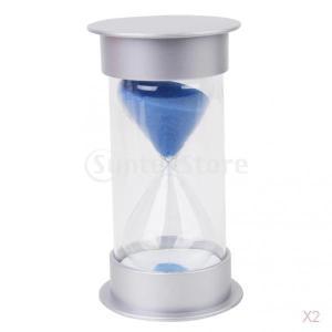 ノーブランド品 砂時計 20分 料理 タイマー 運動 タイミング 青 2本セット  stk-shop