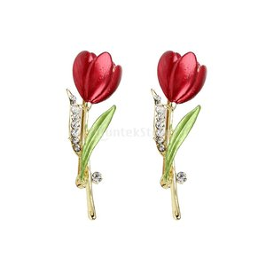 耐久性 実用 2点 チューリップの花 クリスタル/ラインストーンのブローチピン 女性の結婚式 宝石類のギフト|stk-shop