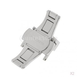 耐久性 実用 2点 ステンレス製 バタフライ クラスプ 時計/バックル/ベルトバンド ストラップ クラスプ 18ミリメートル|stk-shop