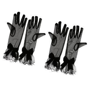 SONONIA 耐久性 実用 2組 女性 ストレッチ レースの手袋 指の短い 葬式/ダンス/仮装 黒|stk-shop