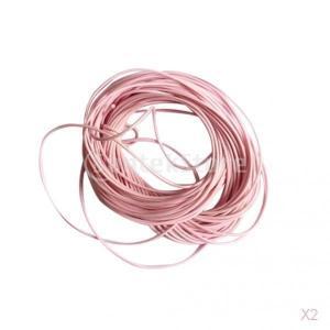 ノーブランド品 2PCS DIY 手芸用 ブレスレット ネックレス 作り 編み ワックス ナイロン ストリング ロープ 2色選べる - ピンク|stk-shop