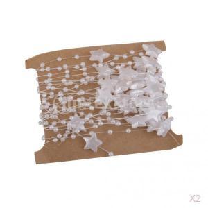SONONIA 2PCS DIY 工芸品 装飾用 白 スター型 ラウンド ビーズ チェーン クリスマスツリーの飾り 5m|stk-shop