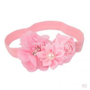ノーブランド品 2PCS  赤ちゃん 女の子 弾性 写真撮影 小道具 花 ヘッドバンド ヘアバンド ターバン 髪飾り 贈り物 5色選べる - ピンク|stk-shop
