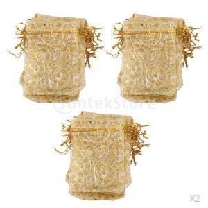 ノーブランド品 セール お買い得 200枚 結婚式 ウェディング用 オーガンジー製 ギフトバッグ - 9x12cmゴールド|stk-shop