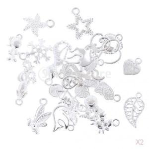 SONONIA 40個入り 混合スタイル 心 ハート形 DIY 魅力 ペンダント ビーズ チャーム 工芸品 銀|stk-shop