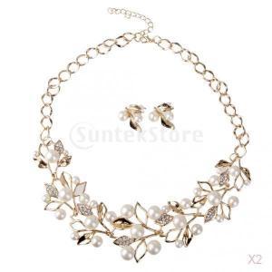 結婚式の花嫁の結晶は、真珠ステートメントネックレスイヤリングセットゴールドの葉|stk-shop