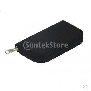 22スロット、SD / CF、マイクロメモリカード収納ポーチケースホルダー財布黒 2点セット|stk-shop
